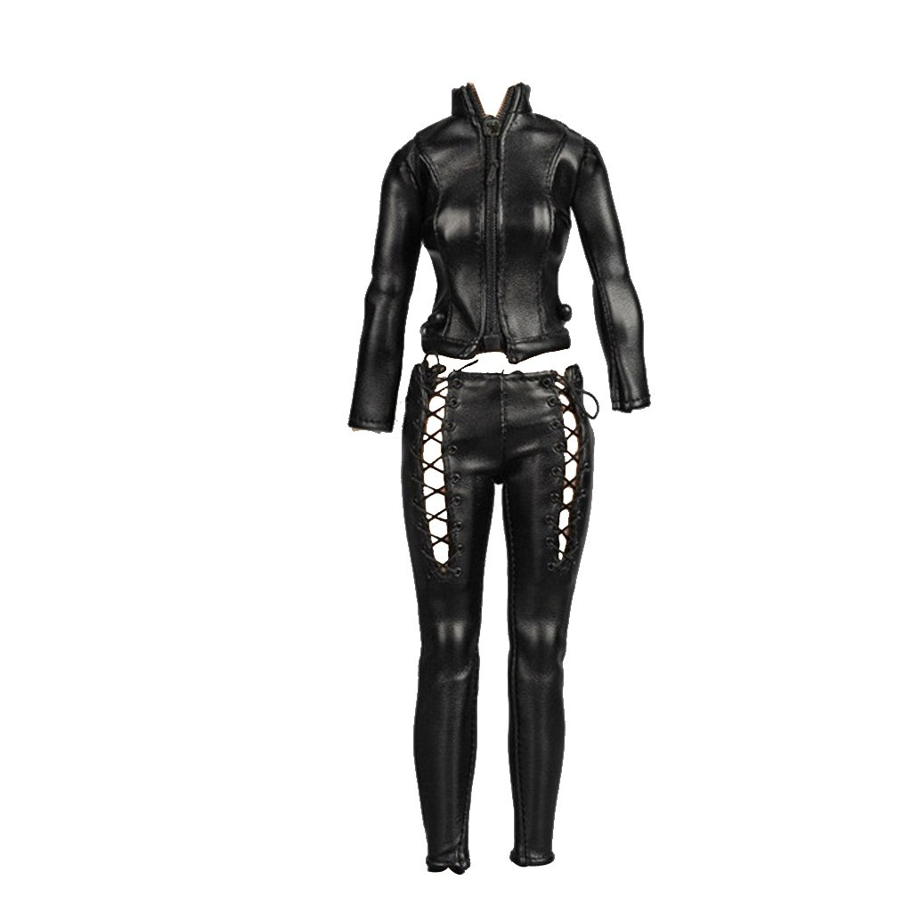 MagiDeal 1/6 Female Riders Clothes Black Leather Jacket Locomotive Suit cheap