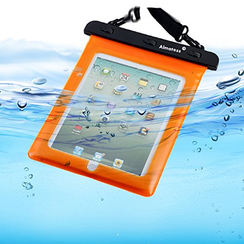 Almatess Universal Waterproof Tablet Case with Lanyard Protective Multi Function Marine for iPad Mini / iPad Mni Retina / iPad / iPad Air / Kindle / Kindle Paperwhite / Kindle Fire (Orange)