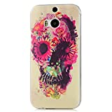 MOLLYCOOCLE Fashion Style Transparent Painted PC Phone Back Cover with Flower Human Skeleton Pattern for HTC ONE M8