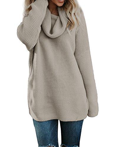 Pxmoda Women's Casual Long Sleeve Turtleneck Knit Sweater Chunky Oversized Pullover Jumper (S, Khaki) ()
