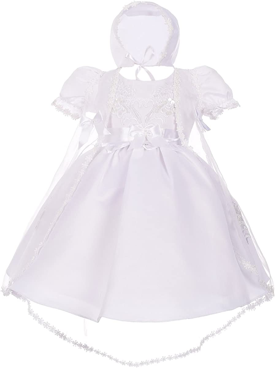 Lito Angels Baby Girls' Christening Baptism Gown Dress with Cape and Bonnet Embroidered Pearls