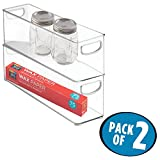 mDesign Plastic Stackable Kitchen Pantry Cabinet, Refrigerator or Freezer Food Storage Bins with Handles - Organizer for Fruit, Yogurt, Snacks, Pasta - BPA Free, 2 Pack, 16'' Long Containers, Clear