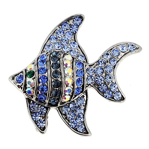 Blue Angel Fish Swarovski Crystal Pin (Fish Brooch)