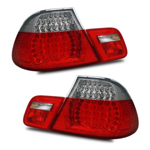 SPPC L.E.D Taillights Red/Clear Assembly Set 4 pieces for BMW 3 Series E46 - (Pair) Includes Driver Left and Passenger Right Side Replacement