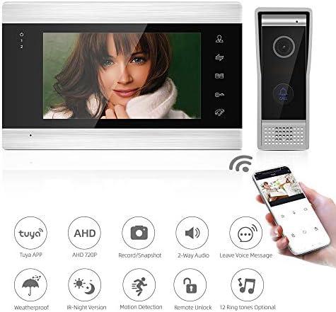 Jeatone Wifi 7/'/' Visiophone,Sonnette de Cam/éra 720P Filaire Vision Nocturne,Audio//Vid/éo bidirectionnelle,IP65,Instantan/é mobile,Surveillance active,D/éverrouillage /à distance,Talk,Record