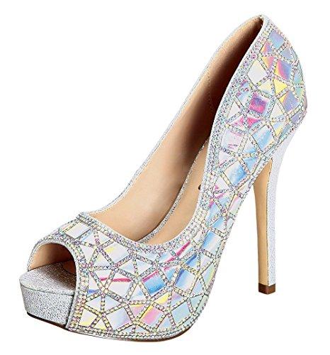 Women's Carina-33 Halographic Embellished Metallic Women's Dress Pump High Heel Silver 7.5