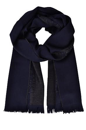 Emporio Armani Écharpe Unisex Bleu Foncé Noir,Brun Logo Laine 175 cm x 39 cm 50c91d8842c