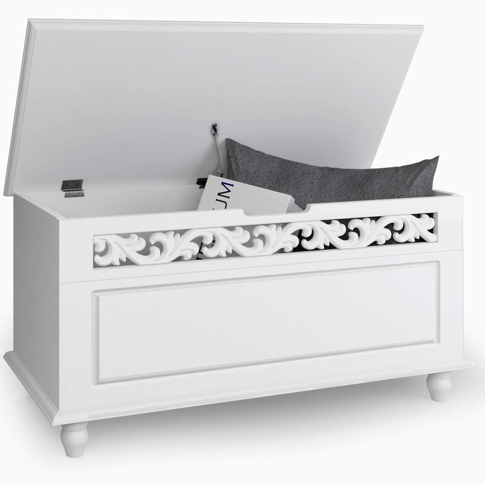 80 x 40 x 48 cm Deuba Holztruhe wei/ß Jersey im Landhaus Design hohe Belastbarkeit Sideboard Truhe Truhebank W/äschetruhe Holz Kiste Anrichte Schrank