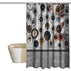 Apartment Decor Steampunk Rustic Bathroom shower curtain Decorations Clock Vintage Design for Women Ideas in Modern Pop Art Wall Clocks World Times 100% Waterproof & Antibacterial 55Wx72L Gray Whit