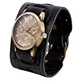 LANDFOX Retro Punk Rock Big Wide Leather Bracelet Cuff Watch Black