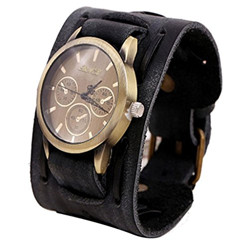 LANDFOX Retro Punk Rock Big Wide Leather Bracelet Cuff Watch Black