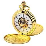 AMPM24 Double Hunter Golden Case Mechanical Pocket Watch WPK226