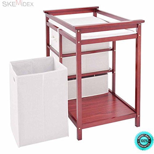 SKEMiDEX---Cherry Infant Baby Changing Table w/3 Basket Hamper Diaper Storage Nursery New This Baby Changing Table keeps everything tidy and concealed for a clean look in the nursery. by SKEMiDEX