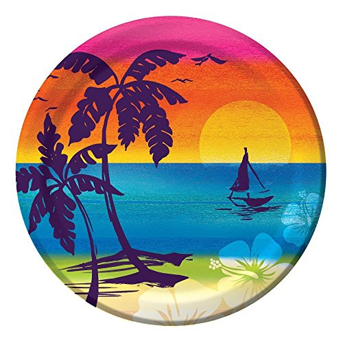 Luau Aloha Summer Sunset 7-inch Paper Plates 24 Pack