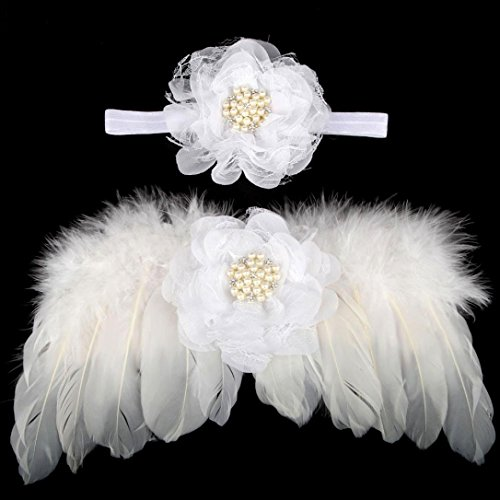 Bestpriceam Newborn Baby Angel Feather Wings Wing Feather Photo Prop Girls Hair Accessories (White) (Custom Angel Wings Costume)
