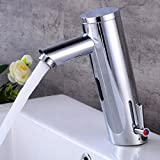 powder room ideas Fyeer Automatic Sensor Touchless Faucet, Motion Activated Hands-Free Bathroom Vessel Sink Tap, Lead Free Certified, Hot&Cold Mixer, Chrome Finish, Model FN0106A