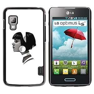 Be Good Phone Accessory // Dura Cáscara cubierta Protectora Caso Carcasa Funda de Protección para LG Optimus L5 II Dual E455 E460 // Profile Portrait Girl Big Earring Fashion Art