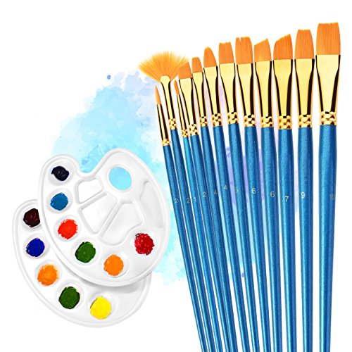 12 Pieces Paint Brushes, Atmoko Painting Brush Set with 2 Palettes for Watercolor, Acrylic & Oil Paintings, Perfect for Painting Canvas, Ceramic, Clay, Wood & Models, Great Gift for Kids, Artists