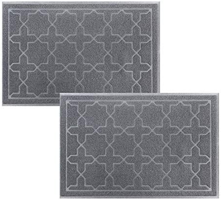 Falflor 2 Pack Indoor Outdoor Doormat 24 x 36 Absorbs Dirty Waterproof Front Back Door Mat for Entrance Garage Patio Easy to Clean Grey