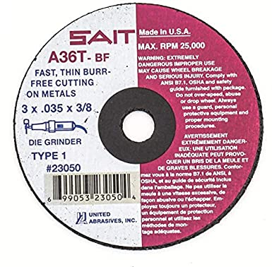 "UNITED ABRASIVES-SAIT 23050 CutOff Wheel,A36T,3/""x.035/""x3//8/"",25000rpm"