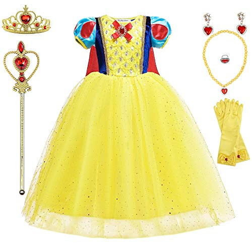 (Princess Snow White Costumes Birthday Party Halloween Costume Cosplay for Girls Yellow Costumes Dress Up with Accessories 2-12 Years(New Snow White,Age:3-4 Years Height)
