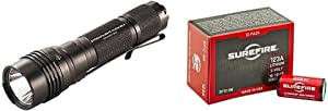 Streamlight 88085 ProTac HL-X USB, Rechargeable USB battery, USB cord and holster and Box - 1000 Lumens, Multi & SureFire SF12-BB Boxed Batteries, (12 Pack)