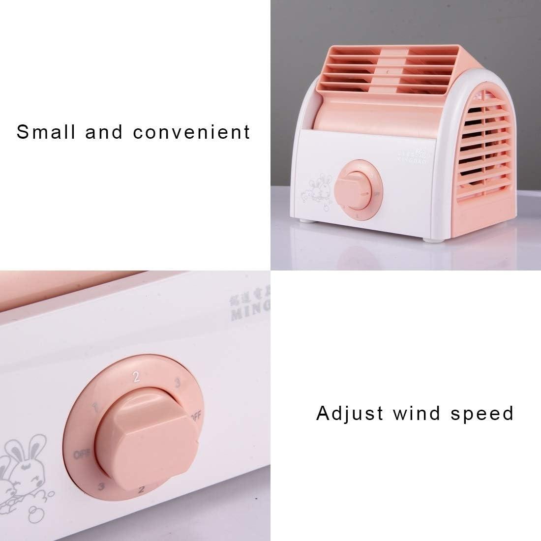 JSANSUI elektrische ventilator 30W Turbine geen Blade Mini Desktop Mute Ventilator voor slaapzaal/slaapkamer/woonkamer/kantoor, 3 soorten Speed Mode, AC 220V, Groen roze 9mtNpWvc