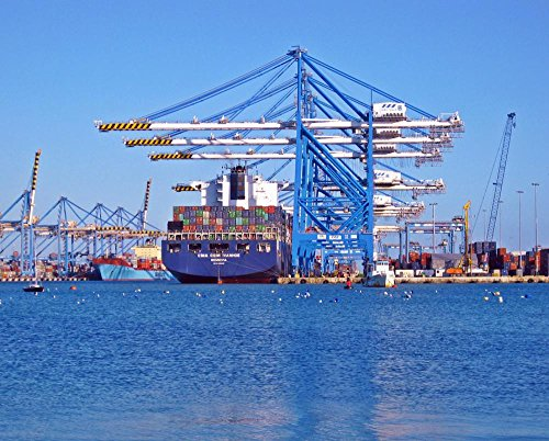 LAMINATED 30x24 inches Poster: Dock Ship Container Port Boat Vessel Sea Transportation Harbor Transport Industry Shipping Water Ocean Cargo Freight Trade Industrial Import Export Business by Gifts Delight