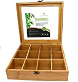 Natural Bamboo Organizer Box with Lid by Royal House, Bamboo Storage Organizer, 12 Compartments, 11.2 x 10.6 x 2.9 Inch