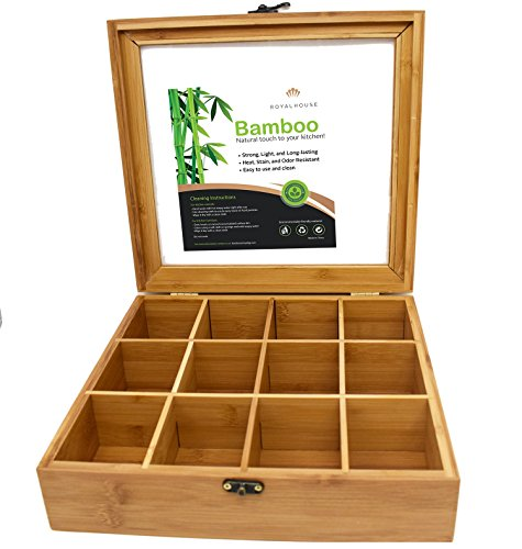 Natural Bamboo Organizer Box with Lid by Royal House, Bamboo Storage Organizer, 12 Compartments, 11.2 x 10.6 x 2.9 Inch by RoyalHouse