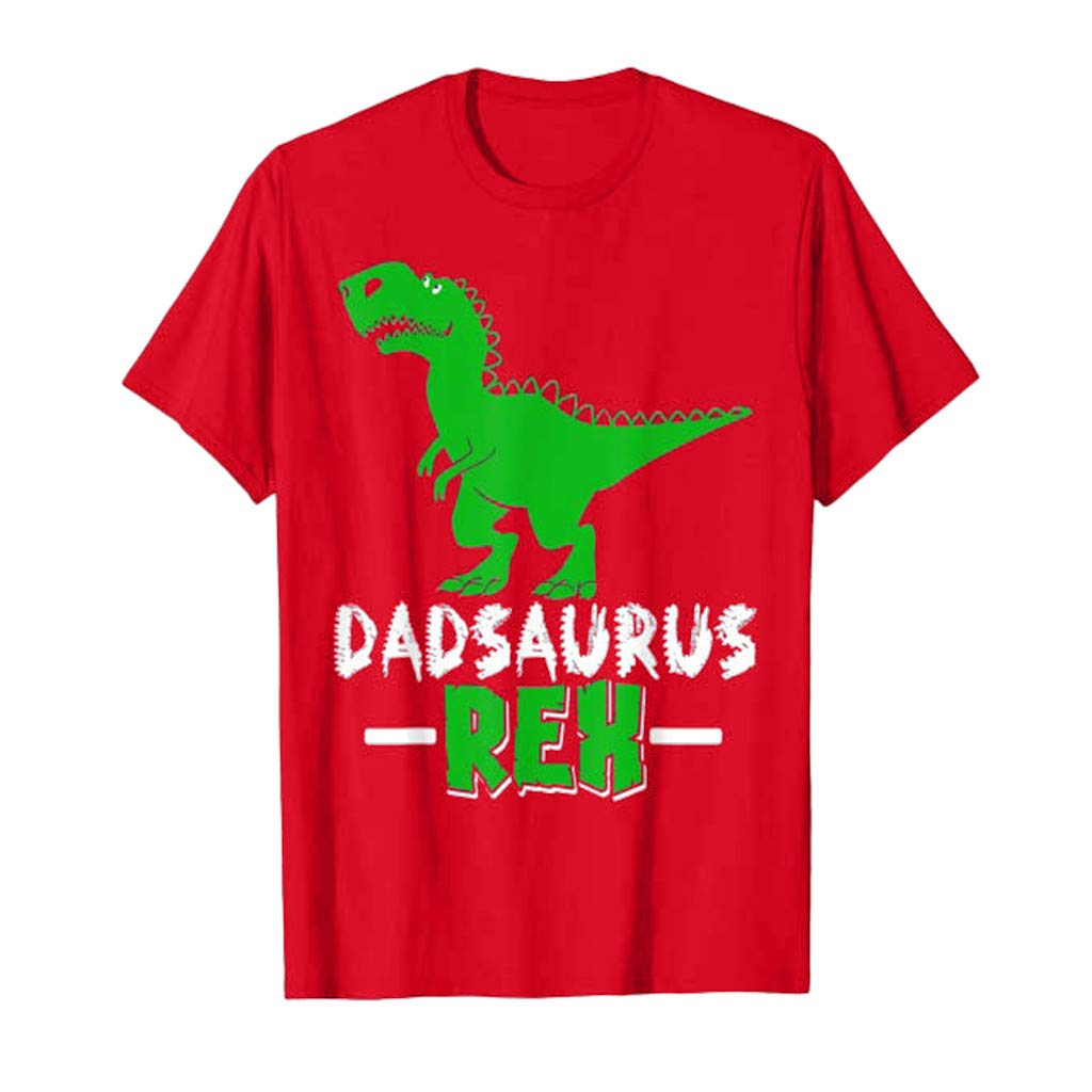 Zackate Mens Casual Solid Color Dinosaur Print Short Sleeve T-Shirts Sporty Cute Tees Tops