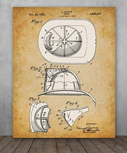 Poster - Fire Fighter Helmet Patent - Choose Unframed Poster or Canvas - Makes a Great Gift for Firefighters]()