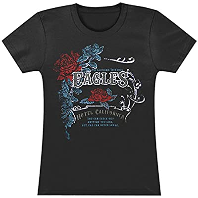Eagles Women's Vintage W/ Foil Rose Crest Girls Jr Tissue Tee Black
