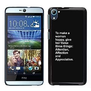 Caucho caso de Shell duro de la cubierta de accesorios de protección BY RAYDREAMMM - HTC Desire D826 - mujer feliz atención amor inspirador