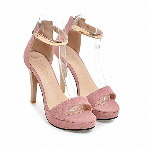 Mee Shoes Women's Chic Stiletto Zip High Heel Sandals Pink 9d0iSpXs
