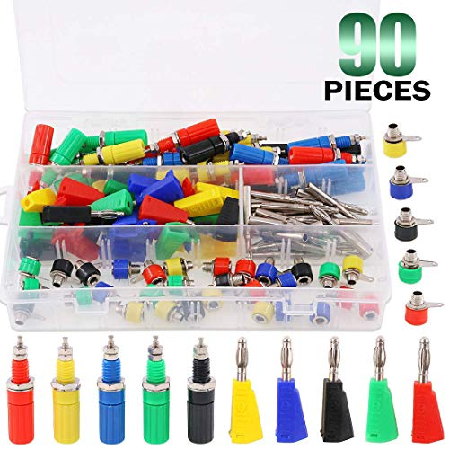 Keadic 90Pcs 5 Color 4MM Banana Plug Banana Jack Socket Binding Post Assortment Kit Respectively for Testing Probes Binding Post Jack Soldering for Speaker Banana Plug Test Probe Connector