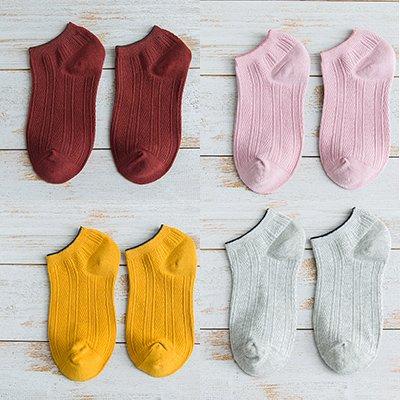 Maivasyy 4 paires de chaussettes fines coton Mignon Chaussettes Bateau basse de printemps et d'été Chaussettes sauvages, Rouge + Jaune + rose + Gris