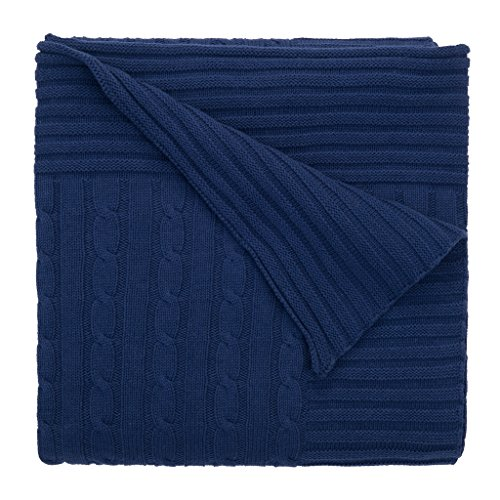 Elegant Baby 100% Cotton Wide Cable Knit Blanket with Ribbed