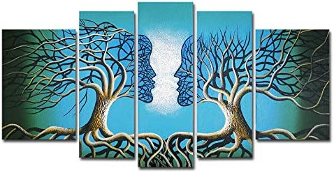 Wieco Art Blue Tree Human Body Extra Large Modern 100 Hand Painted Gallery Wrapped Contemporary Abstract Oil Paintings on Canvas Wall Art Work Ready to Hang for Living Room Home Decor XL