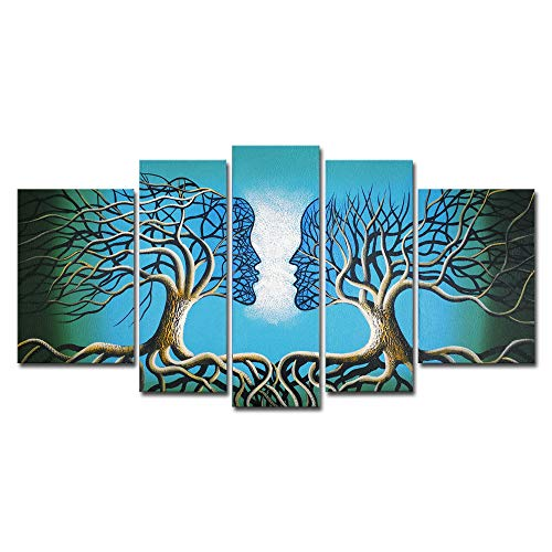 Hand Painted Wall Panels - Wieco Art Blue Tree Human Body Extra Large Modern 100% Hand Painted Gallery Wrapped Contemporary Abstract Oil Paintings on Canvas Wall Art Work Ready to Hang for Living Room Home Decor XL