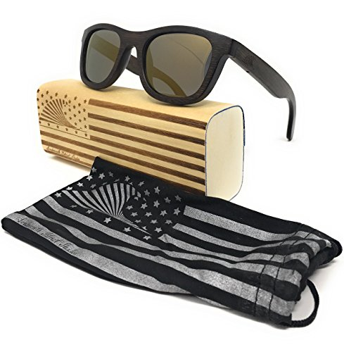 Polarized & Floating Wayfarer Style Bamboo Wood Sunglasses | LOUDMOUTH PATRIOT (espresso, - Sustainable Sunglasses