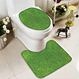 aolankaili Toilet carpet floor mat Green grass,Soccer football field stadium grass 2 Piece Shower Mat set