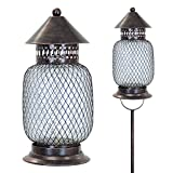 Exhart Brushed Bronze Solar LED Firefly Garden Stake/Lantern w/12 LED String Light, Stakes, Variety, Outdoor lights, Accented Light for Garden or Yard or Driveway, Solar-Powered, Metal Mesh Design