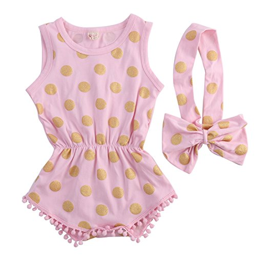 Baby Girl Clothes Gold Dots Bodysuit Romper Jumpsuit One-pieces Outfits Set (0-6 Months, ()
