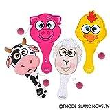 Rhode Island Novelty 9'' Farm Animal Paddle Ball (1 dozen)