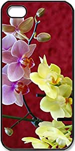 iPhone 4/4s Case,Yellow-And-Pink-Orchids Case for Black iPhone 4 4s