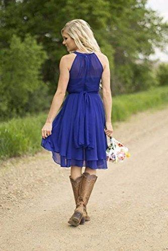 9f26bffa95b6 ... Women s Country High Low Halter Chiffon Bridesmaid Dress Western  Wedding Guest Dress.   