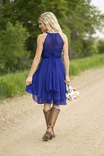 a5bcac8aba7 ... Women s Country High Low Halter Chiffon Bridesmaid Dress Western  Wedding Guest Dress.   
