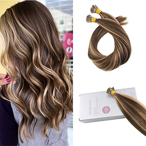 Moresoo 22 Inch Fusion Hair Extensions Real Human Hair Brown Highlights with Caramel Blonde 50g/set 1g/1s 50 Strands I Tip Extensions
