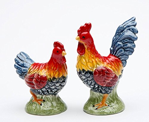 Fine Ceramic Multi Colored Colorful Country Mini Rooster and Hen Salt & Pepper Shakers Set, 2 1/2